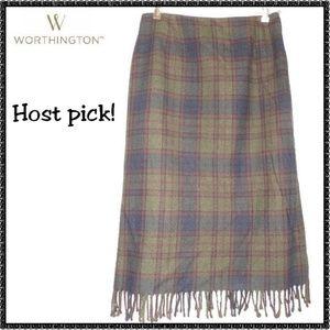 WORTHINGTON Skirt 16P Wool PLAID Straight FRINGED